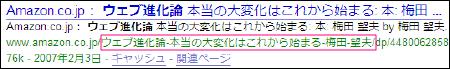 Google「ウェブ進化論」と検索した時の画面。URLに日本語が表示される