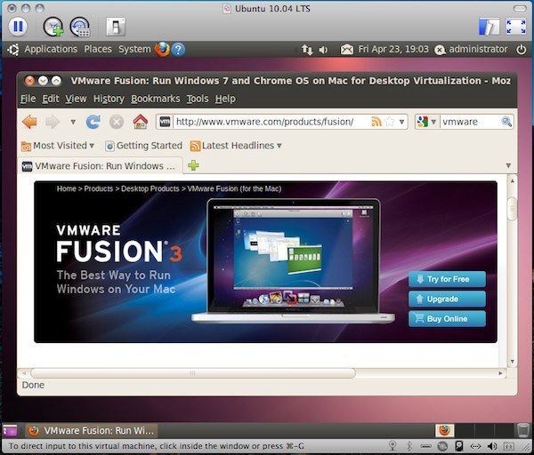 「VMware Fusion 3.1 Beta Build 240138」+「Ubuntu 10.04 LTS RC」