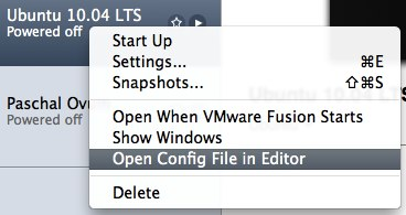 「Open Config File in Editor」を実行