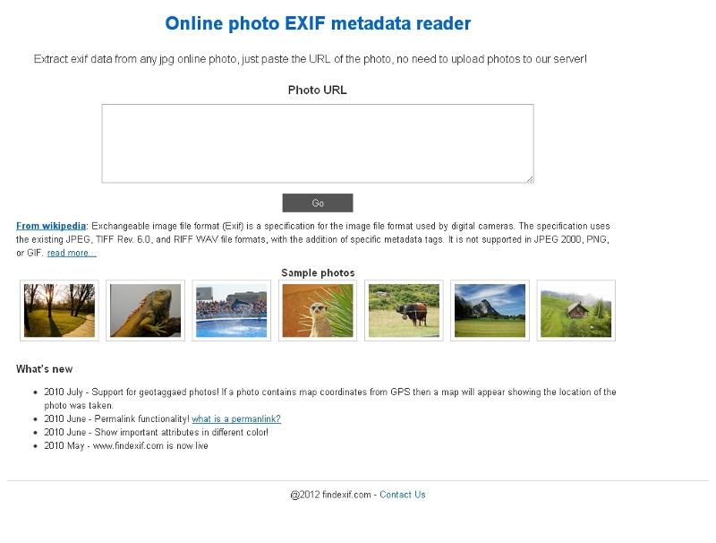 ウェブサービスレビュー オンラインの写真のexifデータを取得して表示