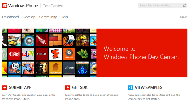 Microsoftの新しいWindows Phone Dev Center