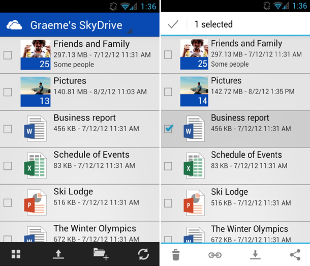 Android向けSkyDrive