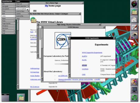 1993年にNeXT製コンピュータ上で稼働するCERNのオリジナルウェブブラウザ