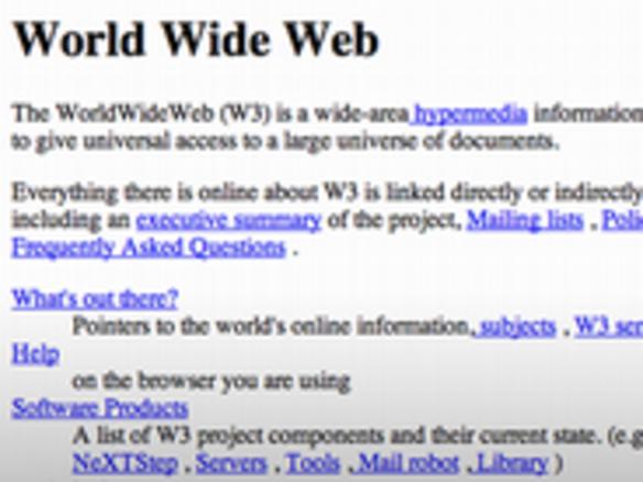 世界最初のウェブサイトが復活,,ウェブ時代の幕開け20周年を記念して , CNET Japan