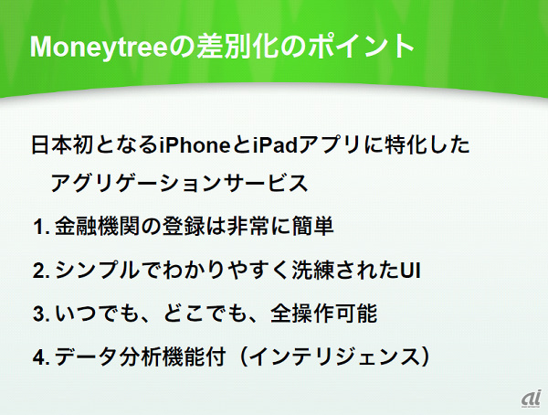 Moneytreeの特徴