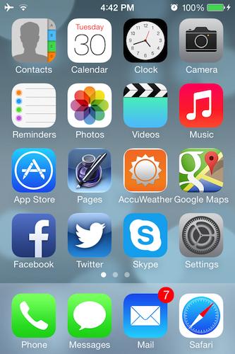 iPhoneおよびiPadのホーム画面にあるタイルの一部は、ライブアップデートされる。カレンダーアイコンが毎日更新されるほか、時計のアイコンには動く秒針が表示される。将来のバージョンでは、天気予報アプリも更新され、今後の天気予報のプレビューが表示されるようになることが期待されている。