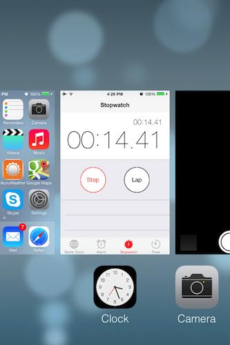 アプリを切り替えようとする時(この機能はゼロから作り直されている)、アプリは静止状態ではなくなった。アプリの画面はリアルタイムに更新されており、フリックしながら見ていけば、今それぞれのアプリで何が起こっているかを見ることができる。動画や時計、ストップウォッチなども含めてだ。