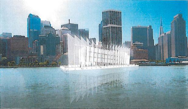 グーグルの洋上建造物、完成時の姿が明らかに--周囲に帆を