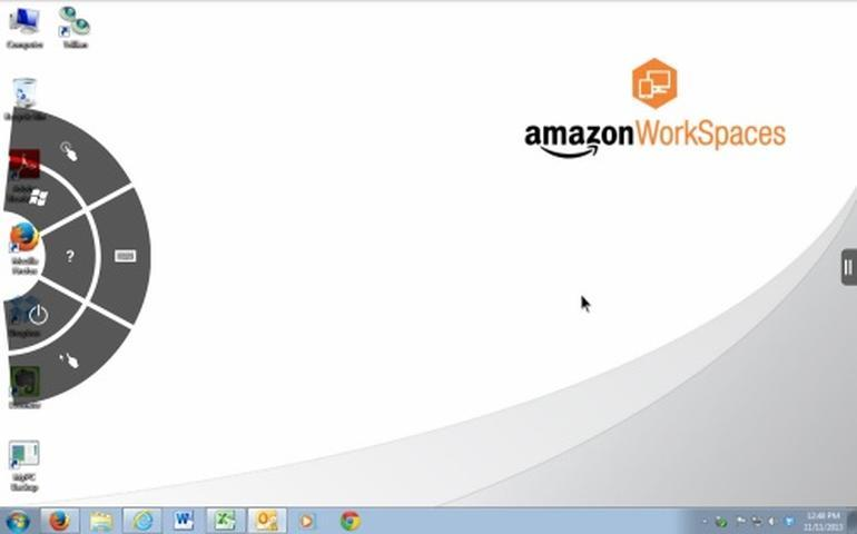 Kindle Fireからアクセスした場合のWorkSpacesの様子。
