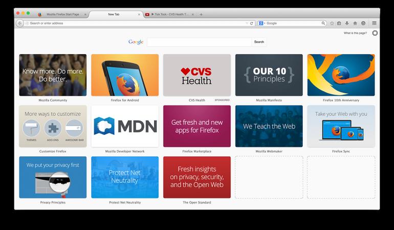 MozillaのEnhanced Tilesは、Mozillaに関連したリンクを新しいFirefoxのNew Tabページに表示する。