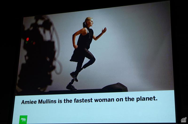エイミー・マリンズ氏は競技用義足で世界最速の女性となった 同氏はさらに... ウェアラブルが抱え