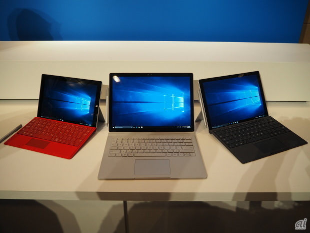 左から、「Surface Pro 3」 「Surface Book」「Surface Pro 4」