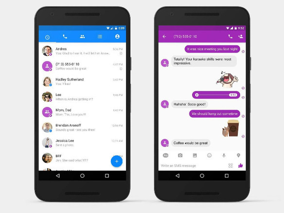 Facebook、Android版「Messenger」でSMSの送受信を可能に