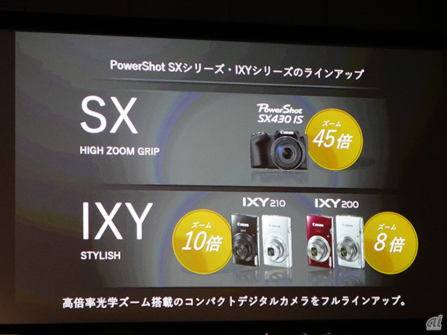 「PowerShot SX430 IS」と「IXY 210/200」も発表