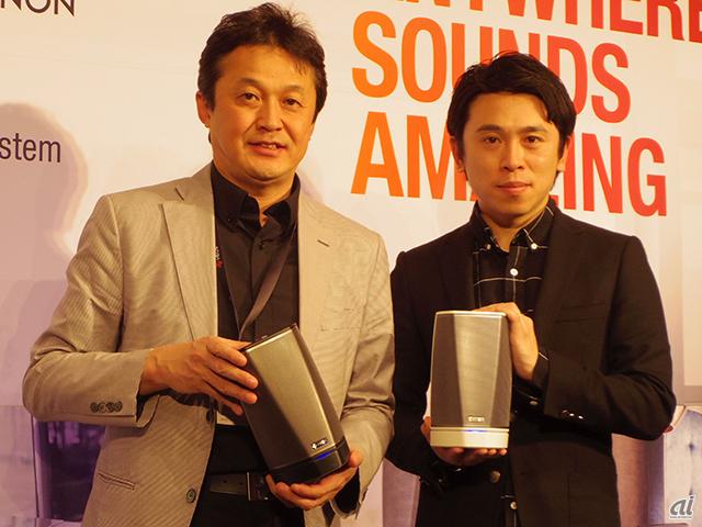 左からディーアンドエムホールディングスのジャパン・セールス&オペレーションプレジデントの中川圭史氏、AWAの取締役/プロデューサーである小野哲太郎氏