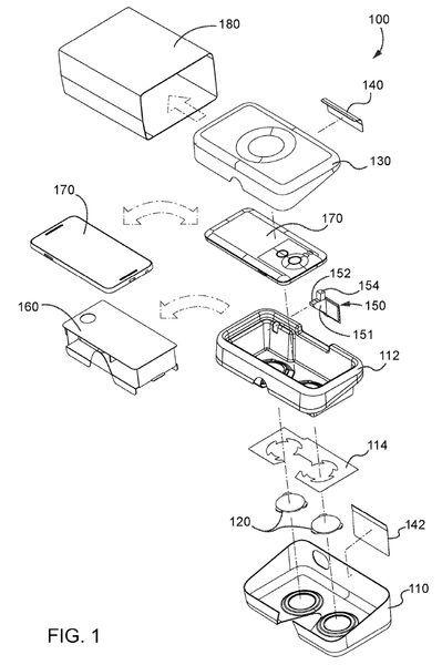 梱包用パッケージを組み立ててスマートフォンをセットする(出典:USPTO)