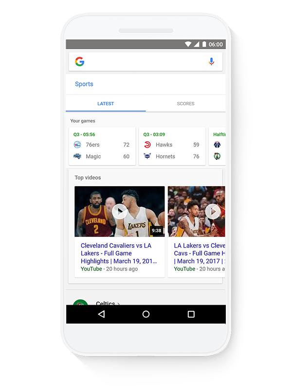 Googleモバイルアプリのショートカット