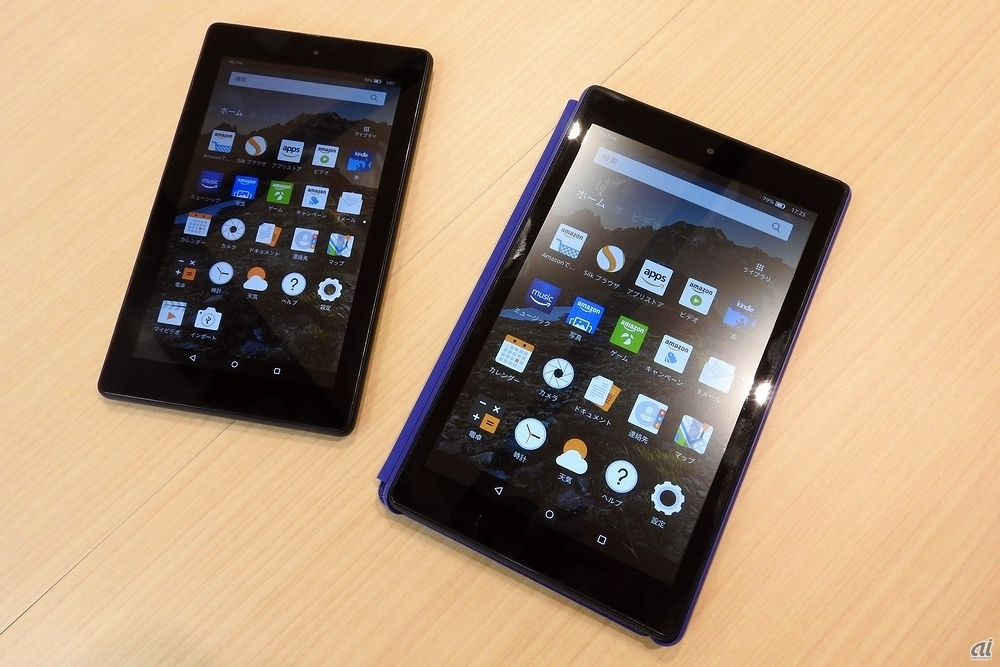 「Amazon Fire 7」(左)と「Amazon Fire HD 8」(右)