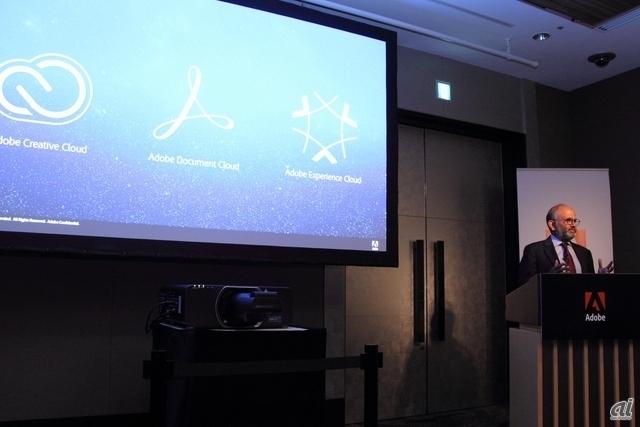 発表会で挨拶するアドビシステムズのCEOであるシャンタヌ・ナラヤン氏