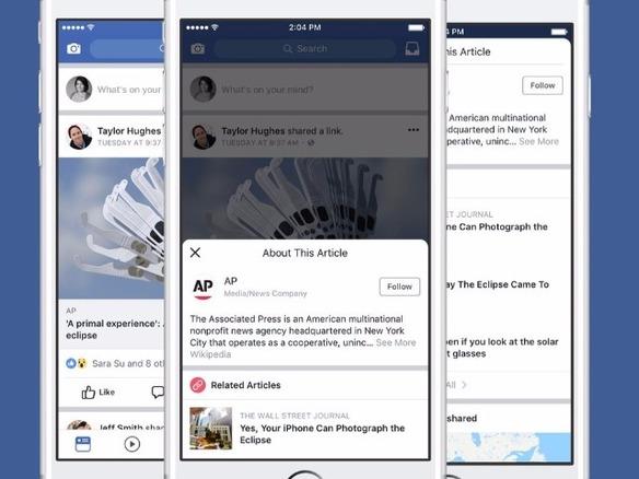 facebook 偽ニュース対策で記事の発信元情報を表示する新機能をテスト