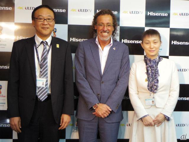 左から、ハイセンスジャパン執行役員副社長磯辺浩孝氏、ラモス瑠偉さん、ハイセンスジャパン代表取締役社長の李文麗氏