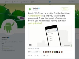 「Android 8.1」、Wi-Fi接続前に速度を表示する新機能