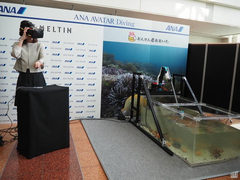 Leap Motionを使って、遠隔でロボットの手を操作。エビや貝などのつかみ取りなども可能という