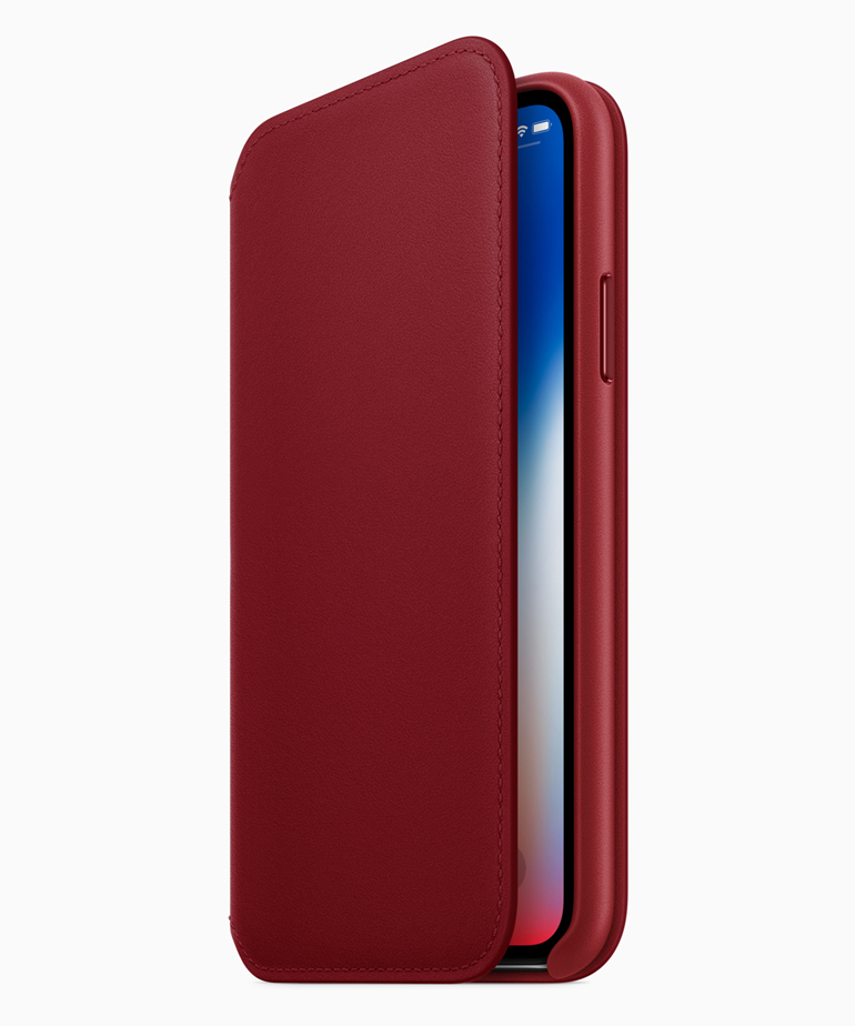 「(PRODUCT)RED iPhone Xレザーフォリオ」