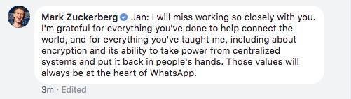 Zuckerberg氏のコメント