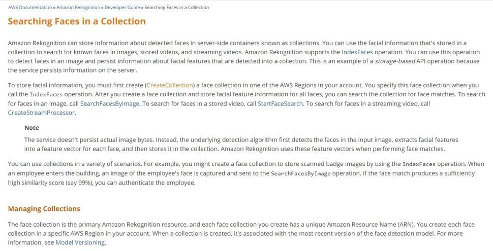 Searching Faces in a Collection