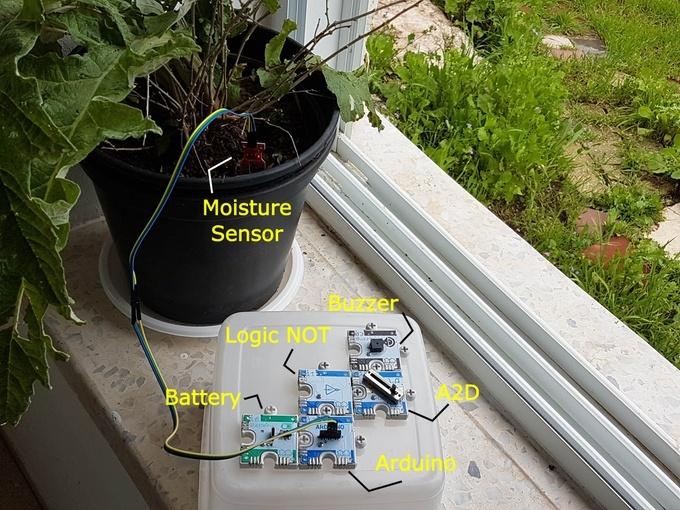 监测花盆的干燥(来源:Kickstarter)