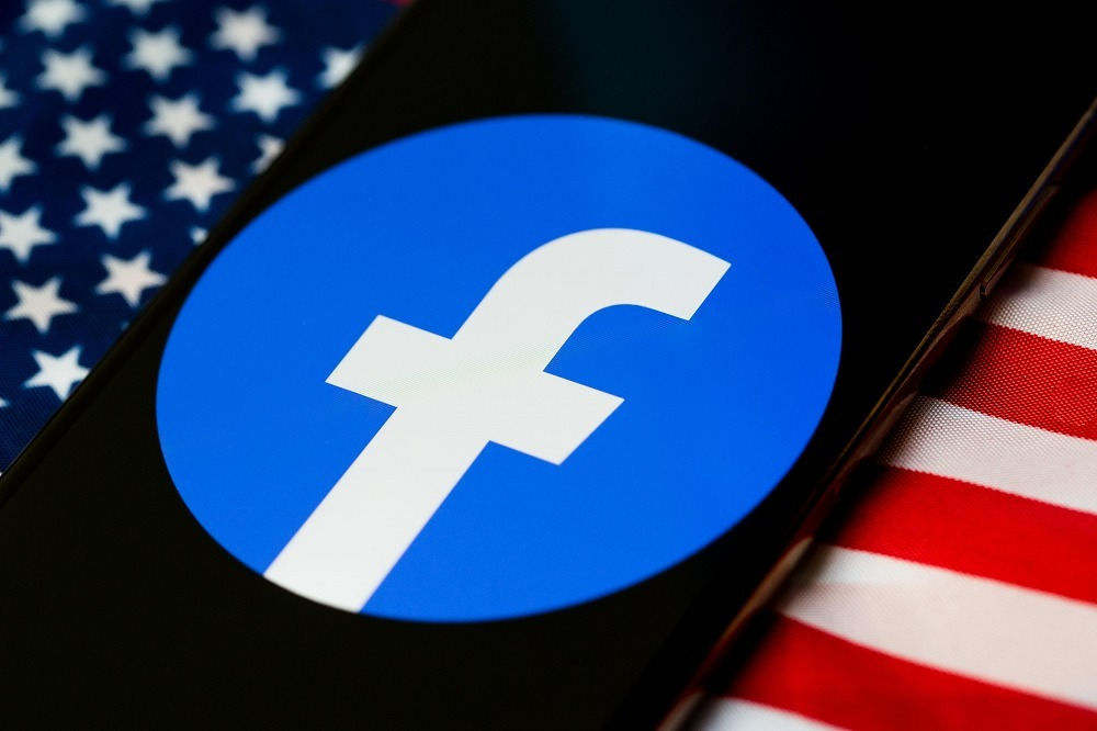 Facebook logo and stars and stripes