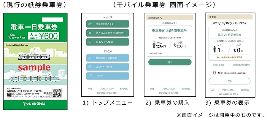 A one-day paper ticket provided by Hiroshima Electric Railway [left] and a newly provided mobile ticket [right]
