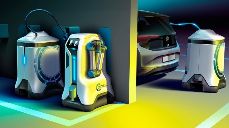 Charging unit with built-in battery at standby location [Source: VW]