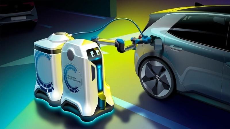 Concept design of self-propelled EV charging robot [Source: VW]