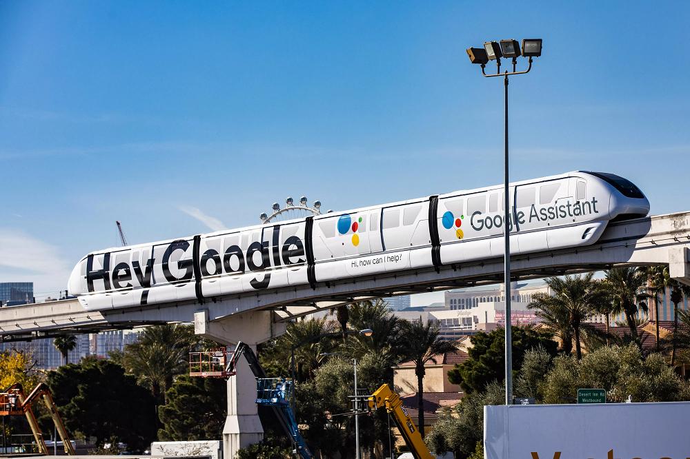 """A monorail entitled """"Hey Google"""" runs"""