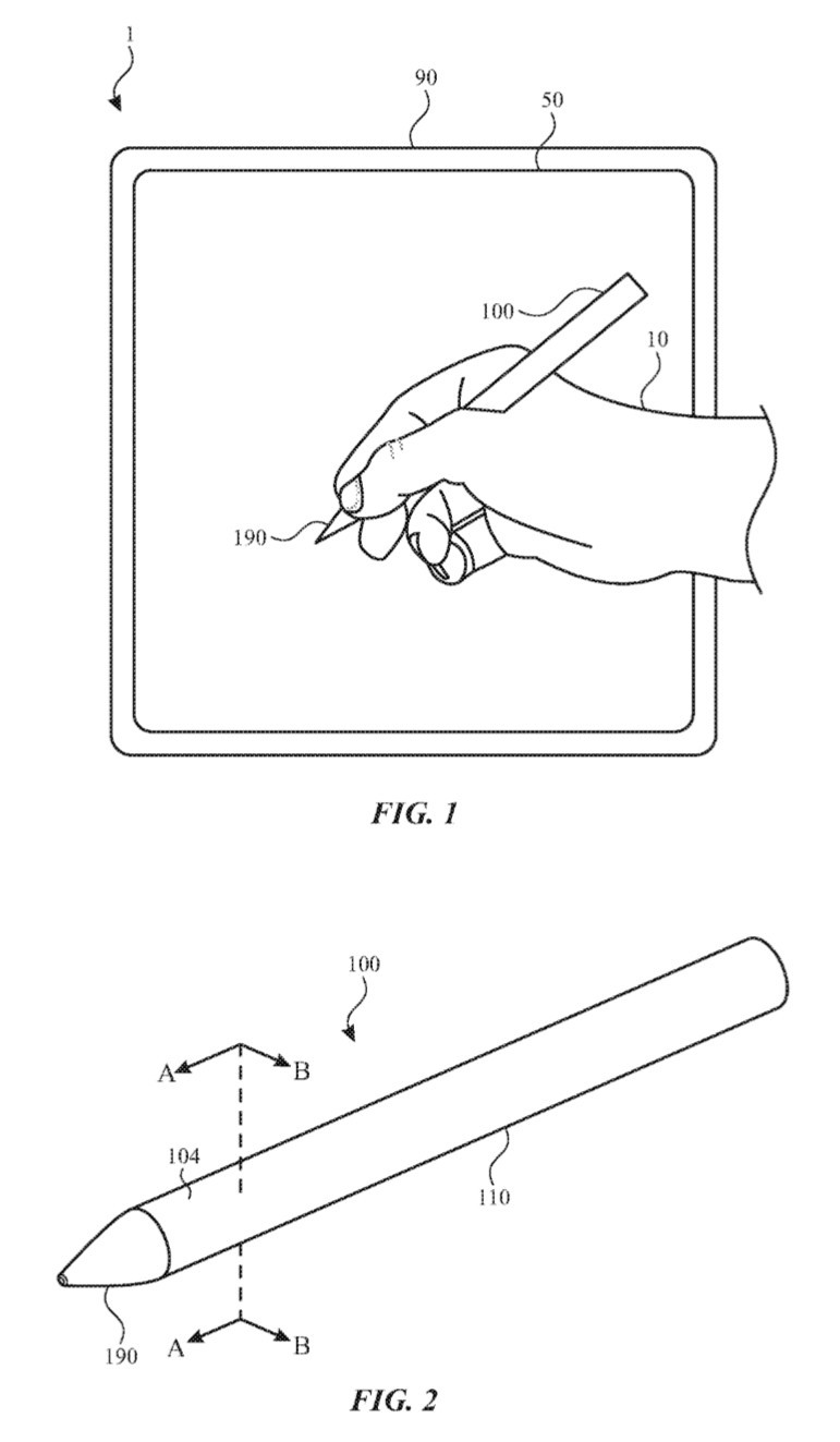 For styluses such as Apple Pencil [Source: USPTO]