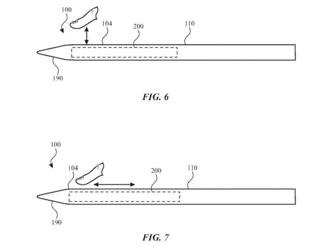 Photo of Apple filed patent for touch-enabled Apple Pencil-tap and slide pen axis