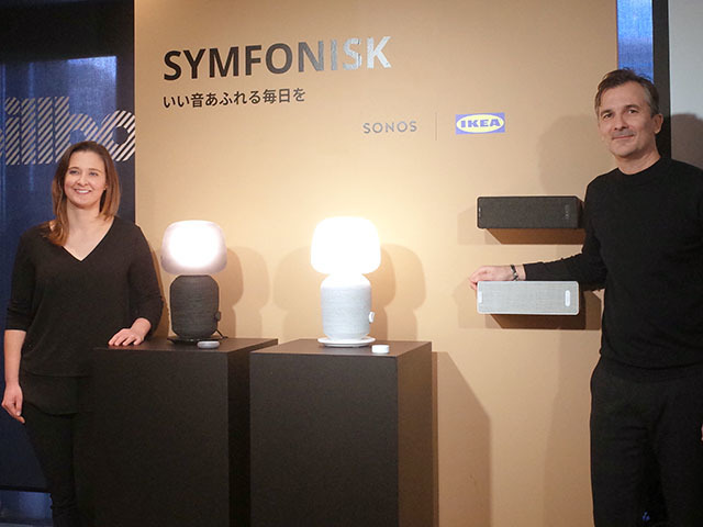 左から、Sonos Senior Product Managerのサラ・モリスとIKEA of Sweden,IKEA Home Smart,Product Design Developerのステーパン・ベーギチ氏