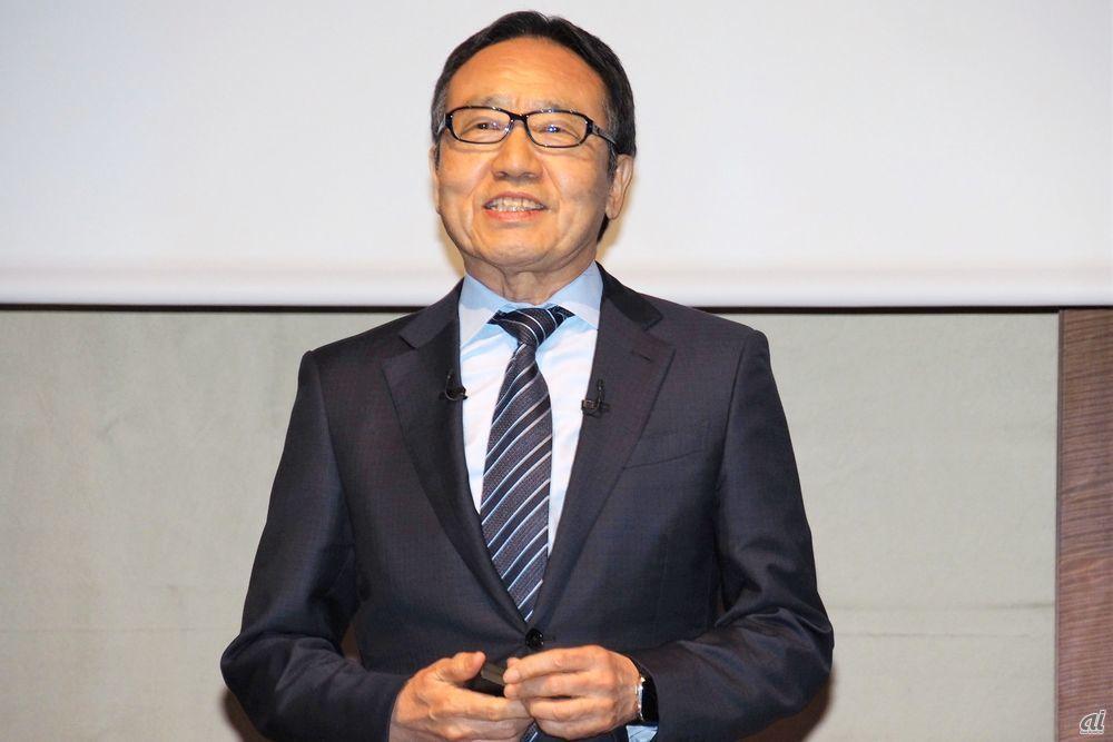 Mr. Miyauchi of Softbank presenting at financial results briefing