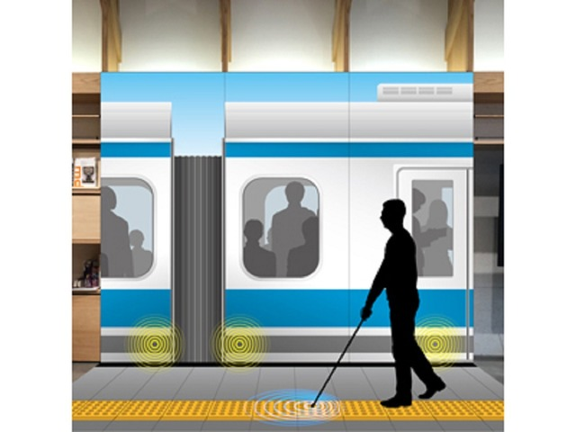 """Photo of Reducing the number of train platform accidents for the visually impaired-Kyocera """" walking support system for the visually impaired ''"""