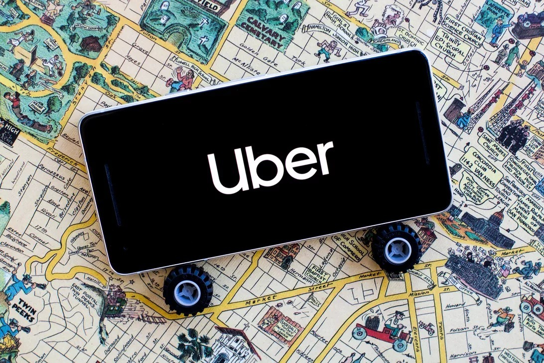 """The text """"Uber"""" on your smartphone"""