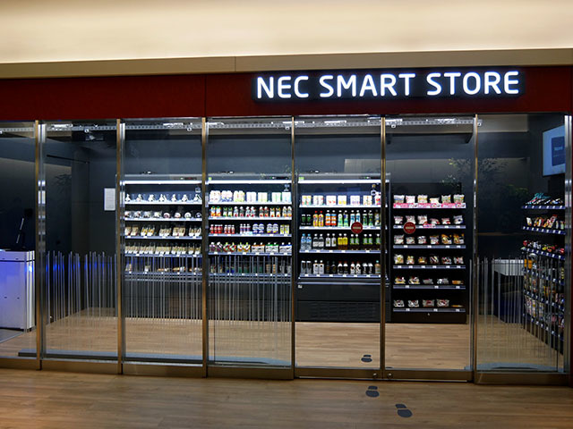 NEC SMART STORE, a cashless store located on the first basement floor of the NEC Head Office Building