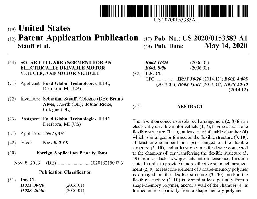 公開されたFordの特許(出典:USPTO)