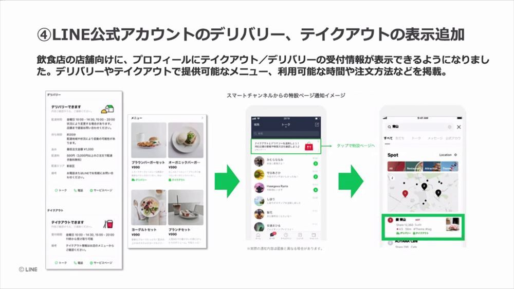 LINE official account now shows that delivery/takeout is supported in the restaurant profile information