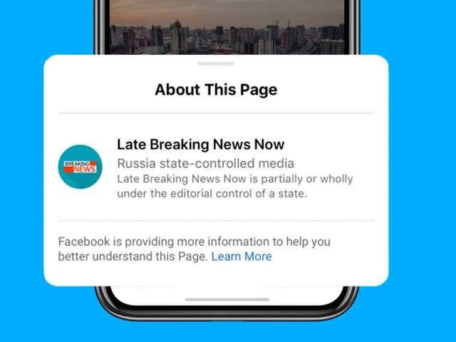 Photo of Facebook to label media under national control