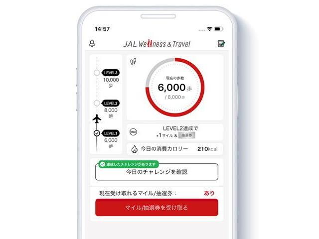 """Photo of JAL x Dai Nippon Printing, """"JAL Wellness & Travel,"""" where miles are accumulated according to the number of steps—-500 yen a month"""
