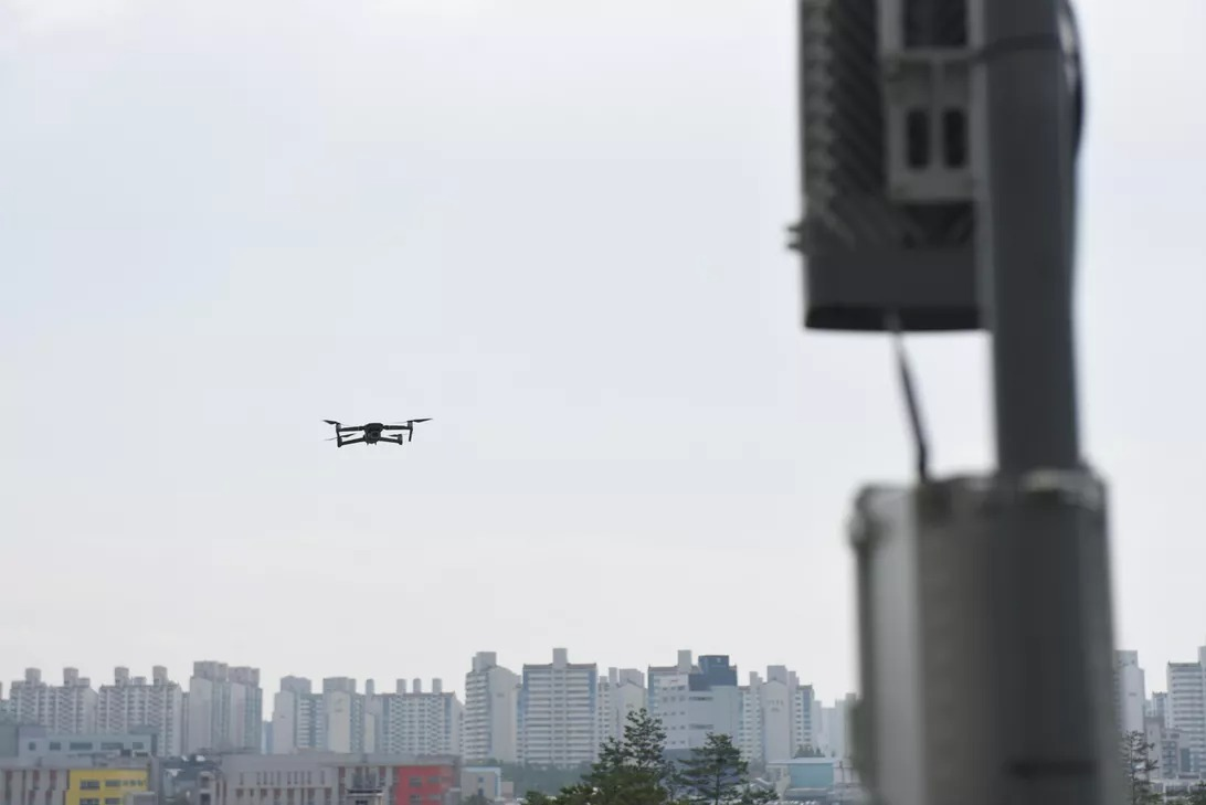Drone flying near the base station