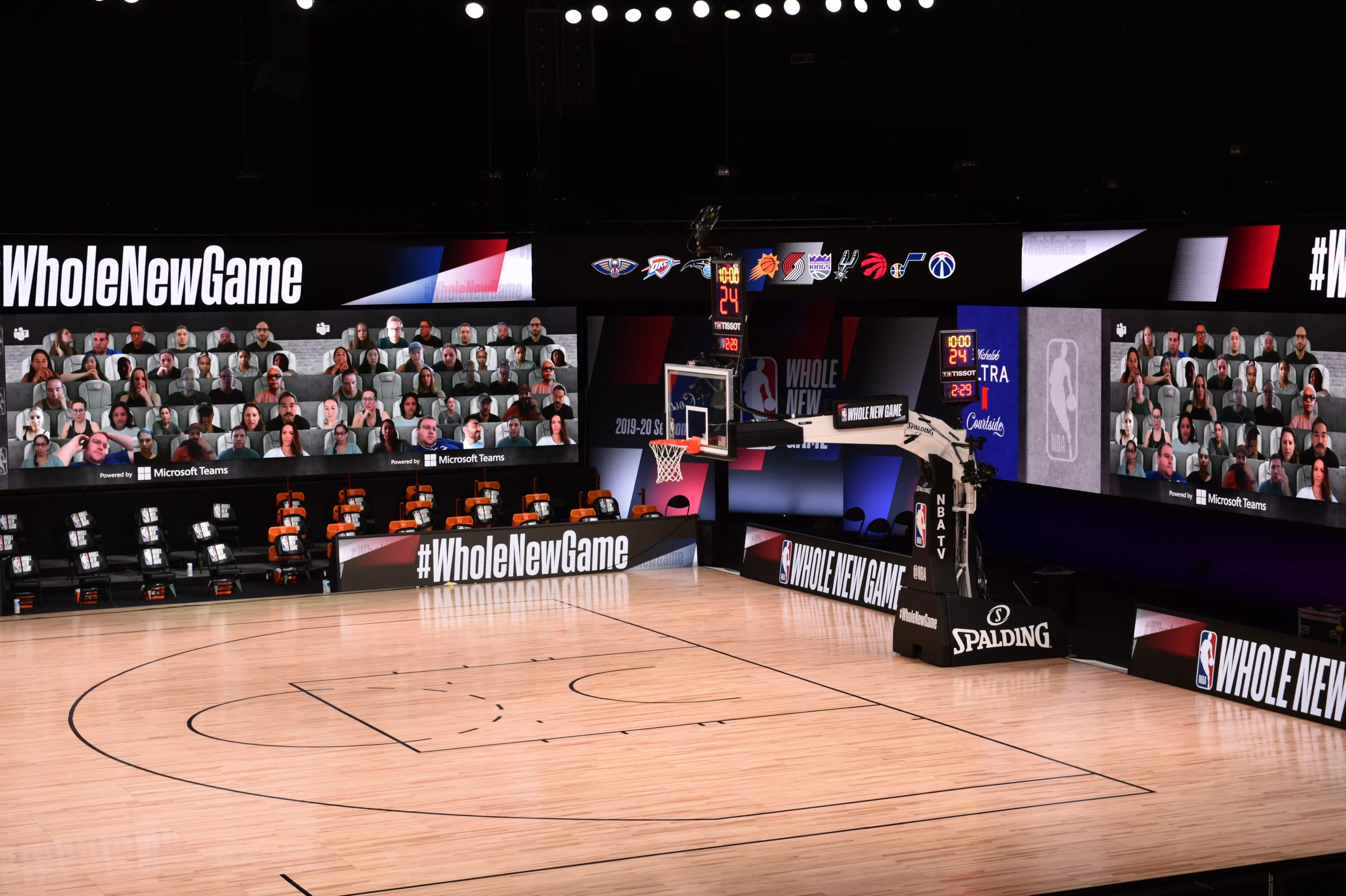 The screen is placed on three sides of the court