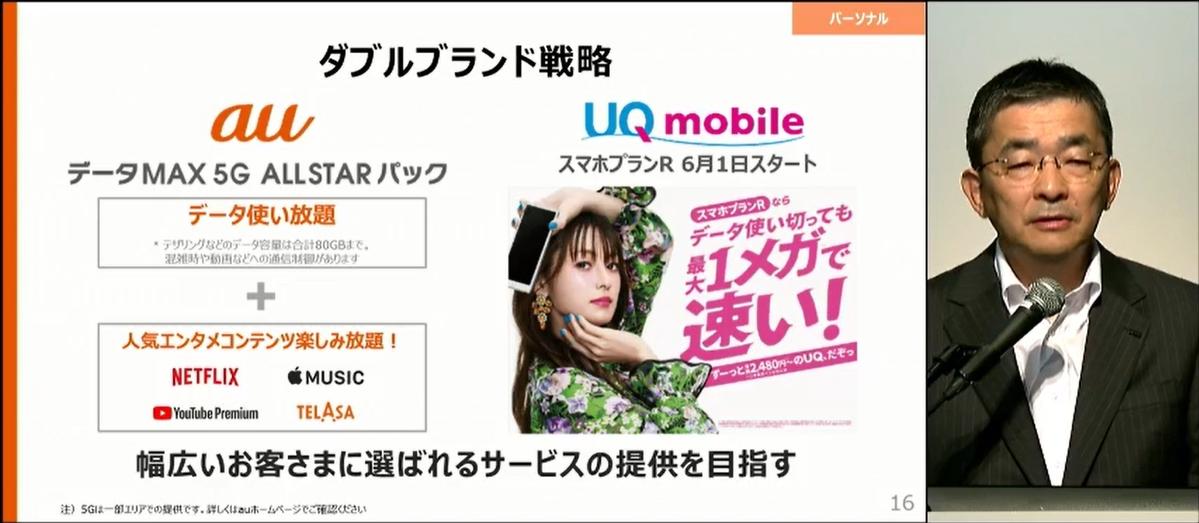 「UQ mobile」の事業承継によってauとのダブルブランド戦略を加速。高品質と低料金を求める双方の消費者の声に応える姿勢を示している